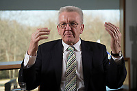 23 MAR 2012, BERLIN/GERMANY:<br /> Winfried Kretschmann, B90/Gruene, Ministerpraesident  Baden-Wuerttemberg, waehrend einem Interview,Landesvertertung Baden-Wuerttemberg<br /> IMAGE: 20120323-03-012