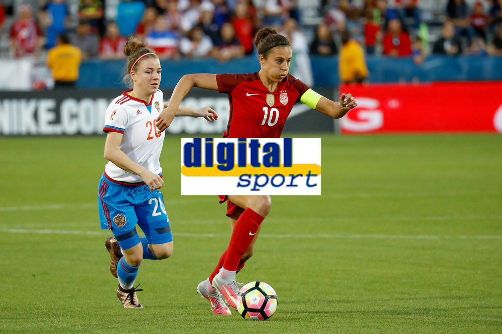 FRISCO, TX - APRIL 06: U.S. Women s National Soccer Forward Carli Lloyd (10) moves past Russia National Soccer Midfielder Margarita Chernomyrdina (20) during the International Friendly Länderspiel soccer match between the United States Women s national team Nationalteam and Russian National team on April 6, 2017 at Toyota Stadium in Frisco, TX. The United States defeated Russia 4-0. <br /> Norway only