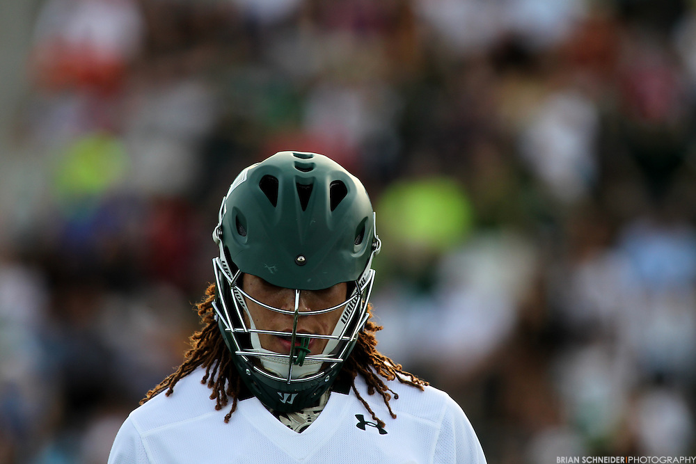 May 12, 2012; Baltimore, MD, USA; Loyola Maryland Greyhounds midfielder Josh Hawkins (5) against the Canisius College Golden Griffins at Ridley Athletic Complex in Baltimore, MD. Mandatory Credit: Brian Schneider-www.ebrianschneider.com