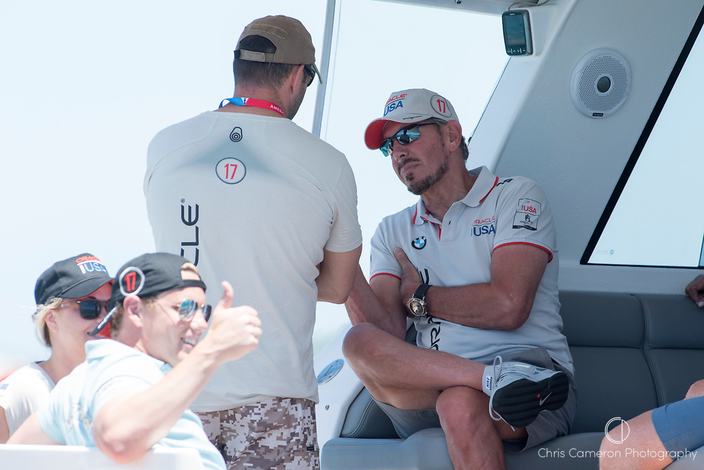 The Great Sound, Bermuda, 25th June 2017. Oracle Team USA owner Larry Ellison. Day four of racing in the America's Cup presented by Louis Vuitton.