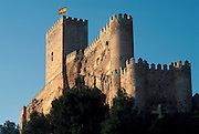 SPAIN, CASTILE-LA MANCHA ALMANSA; one of Spain's most impressive Moorish Castles northwest of Alicante; rebuilt in the 15th century