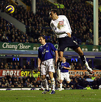 Photo: Paul Thomas.<br /> Everton v Tottenham Hotspur. The Barclays Premiership. 21/02/2007.<br /> <br /> Dimintar Berbartov (R) of Tottenham heads fro the goal, but puts it wide.