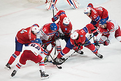 David Pastrnak of Czech Republic, Johannes Johannesen of Norway, Tomas Zohorna of Czech Republic, Andreas Martinsen of Norway, Kristian Forsberg of Norway, Alexander Bonsaksen of Norway and Jan Kovar of Czech Republic during the 2017 IIHF Men's World Championship group B Ice hockey match between National Teams of Czech Republic and Norway, on May 11, 2017 in AccorHotels Arena in Paris, France. Photo by Vid Ponikvar / Sportida