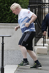 © Licensed to London News Pictures. 12/06/2017. London, UK. Foreign Secretary Boris Johnson takes an early morning run in Westminster London. Over the weekend British prime minister Theresa May formed a new cabinet and continues discussions with the DUP in an attempt to form a new government. Photo credit: Peter Macdiarmid/LNP