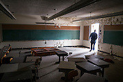 """Inside the former St. Joseph's Catholic School in Duquesne, Pa. St. Joseph's was run by the Sisters of Divine Providence and closed in June 1996.<br /> <br /> Duquesne was home to the Duquesne Works steel mill that was part of Carnegie Steel Corporation and later part of U.S. Steel. It was home to the largest blast furnace in the world, named the """"Dorothy Six""""<br /> <br /> The city's population peaked in 1930, then declined with along with the decline of the steel industry. Today Duquesne has fewer total residents then worked in its steel mill."""