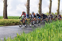 Christine Majerus (Boels Dolmans) on the front in the early kilometres at Dwars door de Westhoek 2016. A 127km road race starting and finishing in Boezinge, Belgium on 24th April 2016.