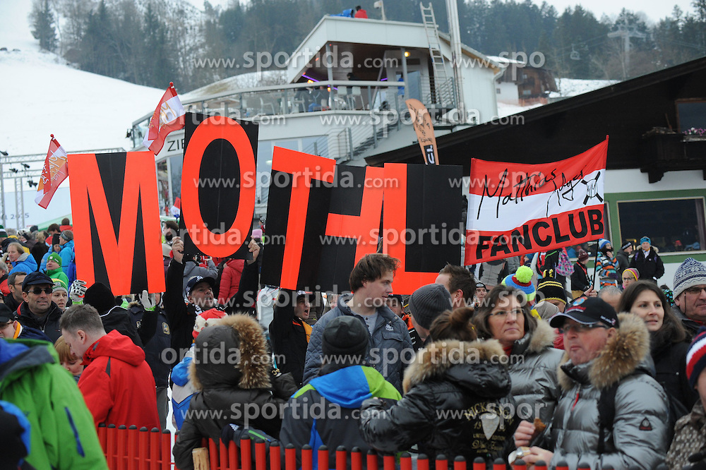 23.01.2015, Streif, Kitzbuehel, AUT, FIS Ski Weltcup, Supercombi Super G, Herren, im Bild Fans // supporters during the men's Super Combined Super-G of Kitzbuehel FIS Ski Alpine World Cup at the Streif Course in Kitzbuehel, Austria on 2015/01/23. EXPA Pictures © 2015, PhotoCredit: EXPA/ Erich Spiess