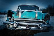 Alberta Canada, abandoned blue Pontiac grill