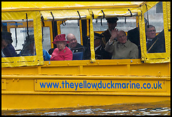 HM The Queen accompanied by HRH The Duke of Edinburgh visits The Albert Docks in Liverpool and takes a ride on the Yellow Duck Marine Tours, Thursday 17th May 2012. Photo by i-Images.