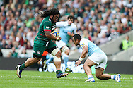 Logovi'i Mulipola of Leicester Tigers (left) runs into Sinoti Sinoti of Newcastle Falcons (right) during the Aviva Premiership match at Welford Road, Leicester<br /> Picture by Andy Kearns/Focus Images Ltd 0781 864 4264<br /> 06/09/2014