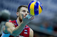 Evgeny Sivozhelev from Russia in action during the 2013 CEV VELUX Volleyball European Championship match between Russia v Slovakia at Ergo Arena in Gdansk on September 24, 2013.<br /> <br /> Poland, Gdansk, September 24, 2013<br /> <br /> Picture also available in RAW (NEF) or TIFF format on special request.<br /> <br /> For editorial use only. Any commercial or promotional use requires permission.<br /> <br /> Mandatory credit:<br /> Photo by © Adam Nurkiewicz / Mediasport