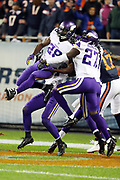 Minnesota Vikings cornerback Xavier Rhodes (29) and Minnesota Vikings rookie safety Jayron Kearse (27) leap and break up an end zone pass intended for Chicago Bears wide receiver Alshon Jeffery (17) during the 2016 NFL week 8 regular season football game against the Chicago Bears on Monday, Oct. 31, 2016 in Chicago. The Bears won the game 20-10. (©Paul Anthony Spinelli)
