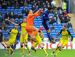 Stephen Bywater of Burton Albion and Sean Morrison of Cardiff City competes for the highball - Mandatory by-line: Nizaam Jones/JMP- 30/03/2018 -  FOOTBALL -  Cardiff City Stadium- Cardiff, Wales -  Cardiff City v Burton Albion - Sky Bet Championship