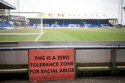 General view of the stadium with a racial abuse sign during the EFL Sky Bet League 1 match between Oldham Athletic and Bury at Boundary Park, Oldham, England on 11 March 2017. Photo by Mark P Doherty.