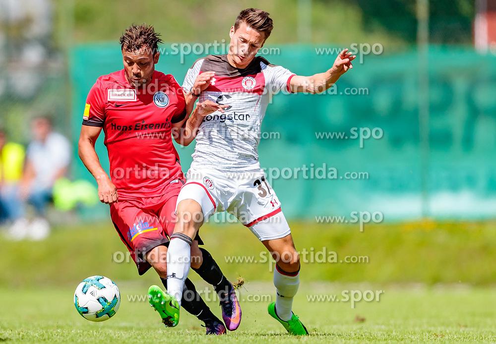 16.07.2017, Sportplatz Buergerau, Saalfelden, AUT, Testspiel, FC St. Pauli vs FC Wil 1900, im Bild Johan Vonlanthen (FC Wil 1900), Maurice Litka (FC St. Pauli) // during the Friendly Football Match between FC St. Pauli and FC Wil 1900 at the Stadion Buergerau, Saalfelden, Austria on 2017/07/16. EXPA Pictures © 2017, PhotoCredit: EXPA/ JFK