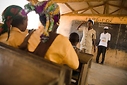A community health nurse speaks about polio immunization at the Gbulahabila primary school in the village of Gbulahabila, northern Ghana on Wednesday March 25, 2009.