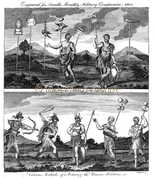 Standards of Roman legions (top) and Weapons and armour used by Roman soldiers.  From 'Ancell's Monthly Military Companion', 1801. Copperplate engraving