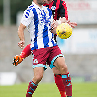 St Johnstone v Real Sociedad...12.07.15  Bayview, Methil (Home of East Fife FC)<br /> Imanol Agirretxe is tackled by Tam Scobbie<br /> Picture by Graeme Hart.<br /> Copyright Perthshire Picture Agency<br /> Tel: 01738 623350  Mobile: 07990 594431