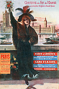 Advertisement for Railway of the West's Paris-London boat train service, c1900. London flower girl welcoming visitors,  Parliament and River Thames in background. Transport Rail Marine International England France Tourism