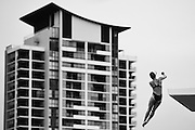 GOLD COAST, AUSTRALIA - OCTOBER 29:  (EDITORS NOTE: Image has been converted to black and white.)<br /> Maria Kurjo of Germany competes in the Women's 10m Platform during the FINA Diving Grand Prix on October 29, 2015 on the Gold Coast, Australia.  (Photo by Matt Roberts/Getty Images)