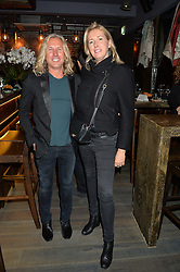 TIGGY KENNEDY and KARL PLEWKA at the launch of Korean restaurant Jinjuu with chef Judy Joo at 15 Kingley Street, London on 22nd January 2015.