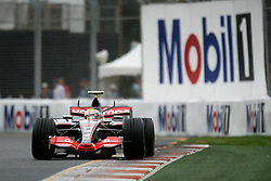 Melbourne. Australia - Friday, March 16, 2007: Lewis Hamilton (GBR, Vodafone McLaren Mercedes) during practice at the opening Grand Prix of the Formula One World Championship in Australia.(Pic by Michael Kunkel/Propaganda/Hoch Zwei)