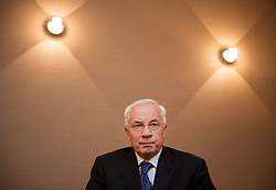 Mykola Azarov, Ukraine's prime minister, speaks during an interview at the European Parliament building in Brussels, Belgium, on Wednesday, Oct. 13, 2010. Ukraine's inflation rate jumped to 10.5 percent in September, the highest since March, as a summer drought boosted the cost of food.