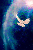 """""""The Spirit of God descends like a Dove - Painting by Dino Carbetta – Azure""""…<br /> <br /> Gospel Jn 20:19-23 """"On the evening of that first day of the week, when the doors were locked, where the disciples were, for fear of the Jews, Jesus came and stood in their midst and said to them, """"Peace be with you."""" When he had said this, he showed them his hands and his side. The disciples rejoiced when they saw the Lord. Jesus said to them again, """"Peace be with you. As the Father has sent me, so I send you."""" And when he had said this, he breathed on them and said to them, """"Receive the Holy Spirit. Whose sins you forgive are forgiven them, and whose sins you retain are retained.""""<br /> 2 Corinthians 1:3-7 """"Blessed be the God and Father of our Lord Jesus Christ, the Father of compassion and God of all encouragement, who encourages us in our every affliction, so that we may be able to encourage those who are in any affliction with the encouragement with which we ourselves are encouraged by God. For as Christ's sufferings overflow to us, so through Christ* does our encouragement also overflow. If we are afflicted, it is for your encouragement and salvation; if we are encouraged, it is for your encouragement, which enables you to endure the same sufferings that we suffer. Our hope for you is firm, for we know that as you share in the sufferings, you also share in the encouragement."""""""