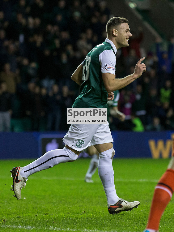 Hibernian FC v St Mirren FC <br /> <br /> Anthony Stokes (Hibernian) celebrates goal on his comeback to Hibs during the SPFL Championship match between Hibernian and St Mirren FC at Easter Road Stadium on Saturday 23 January 2016.<br /> <br /> Picture Alan Rennie.