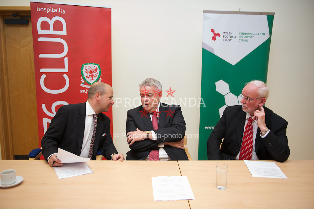NEWPORT, WALES - Wednesday, July 4, 2012: FAW Chief Executive Jonathan Ford, First Minister Carwyn Jones and Newport Council Leader Bob Bright at a press conference as the Football Association of Wales opens the first 3G pitch at the National Development Centre at the Newport International Sports Village. (Pic by David Rawcliffe/Propaganda)