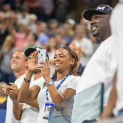 2019 US Open Tennis Tournament- Day Four.  Corey Gauff, and Candi Gauff, parents of Coco Gauff of the United States, in the stands after her victory against Time Babos of Hungary in the Women's Singles Round Two match on Louis Armstrong Stadium at the 2019 US Open Tennis Tournament at the USTA Billie Jean King National Tennis Center on August 29th, 2019 in Flushing, Queens, New York City.  (Photo by Tim Clayton/Corbis via Getty Images)