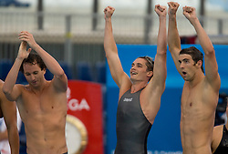 Aaron Peirsol, Eric Shanteau and Michael Phelps of the United States celebrate victory in the Men's 4x 100m Medley Relay Final during the 13th FINA World Championships Roma 2009, on August 2, 2009, at the Stadio del Nuoto,  in Foro Italico, Rome, Italy. (Photo by Vid Ponikvar / Sportida)