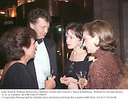 Lady Powell, William shawcross, Barbara Amiel and Countess Maya Schonburg.  Poland for Europe dinner. V. &  A. London. 26/3/98. Film 97198f19<br />