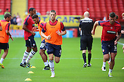 Bolton Wanderers striker Jamie Proctor (9) and Bolton Wanderers forward Gary Madine (14) warming up during the EFL Sky Bet Championship match between Charlton Athletic and Bolton Wanderers at The Valley, London, England on 27 August 2016. Photo by Matthew Redman.