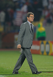 12.06.2010, Sandton - Nelson Mandela Square, Johannesburg, RSA, FIFA WM 2010, 3D television, im Bild Fabio Capello manager / head coach of England reacts at the final whistle, EXPA Pictures © 2010, PhotoCredit: EXPA/ IPS/ Mark Atkins / SPORTIDA PHOTO AGENCY
