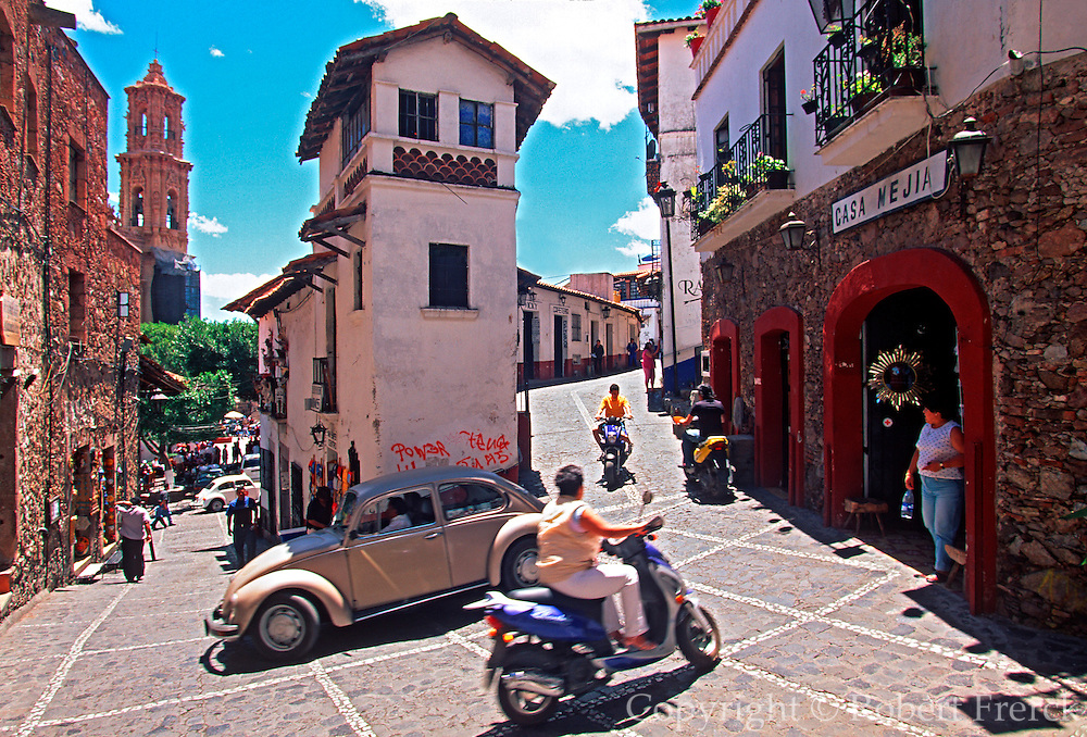 MEXICO, COLONIAL, TAXCO colonial homes and silver jewelry shops