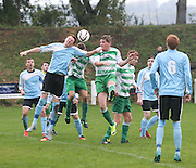 Lindsay Gray heads home Lochee's first goal - Dundee Summer Football League Charity Cup Final at Downfield Park<br /> <br />  - &copy; David Young - www.davidyoungphoto.co.uk - email: davidyoungphoto@gmail.com