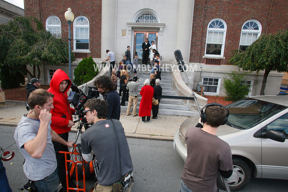 """Middletown, NY - The feature movie """"Collar"""" films outside a police station and courthouse on  Saturday, Oct. 10, 2009."""