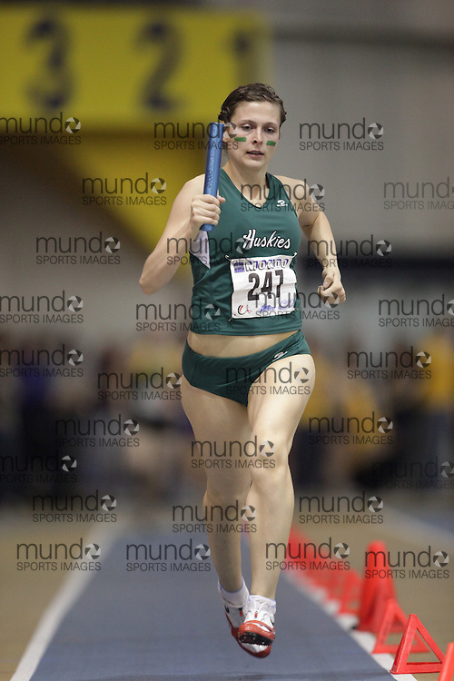 Windsor, Ontario ---13/03/09--- Helen Hanbidge of  the University of Saskatchewan competes in the 4X800 metre relay at the CIS track and field championships in Windsor, Ontario, March 13, 2009..GEOFF ROBINS Mundo Sport Images