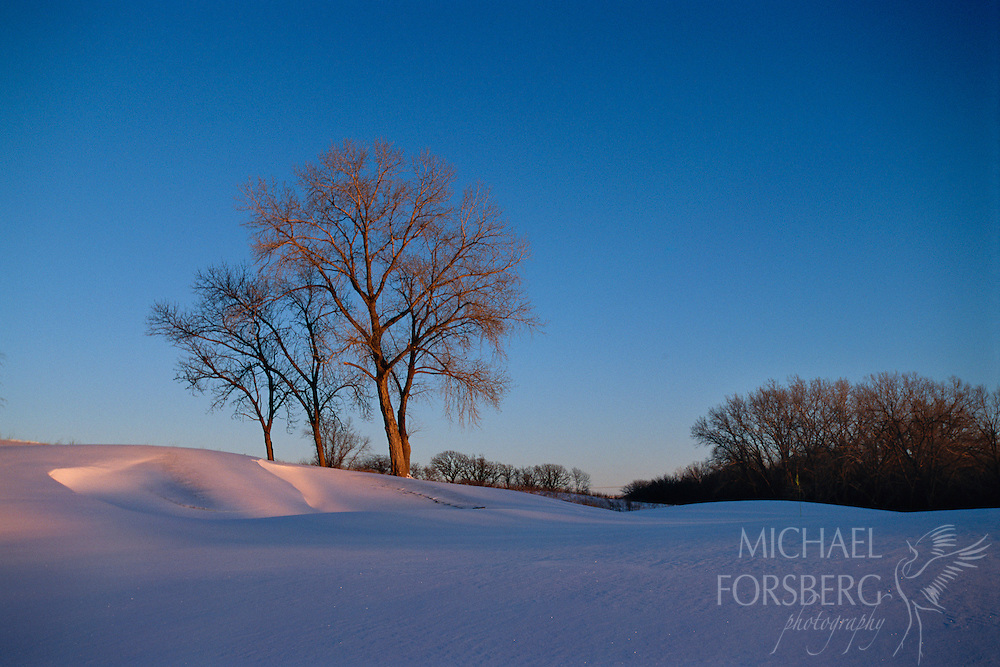 Quarry Oaks, Sarpy County, Nebraska.  Snow blankets the rolling hills near the Missouri River in Sarpy County, Nebraska, as the last bits of soft sunlight fade on the glittering snow.