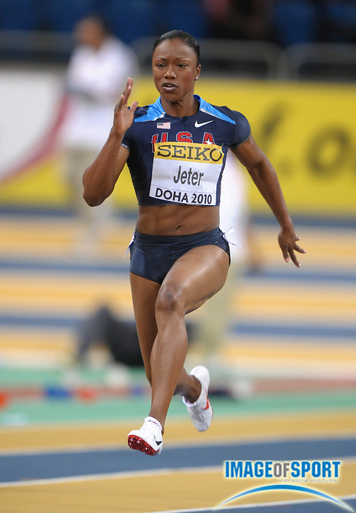 Mar 12, 2010; Doha, QATAR; Carmelita Jeter (USA) wins women's 60m heat in 7.30 in the IAAF World Indoor Championships in Athletics at the Aspire Dome.