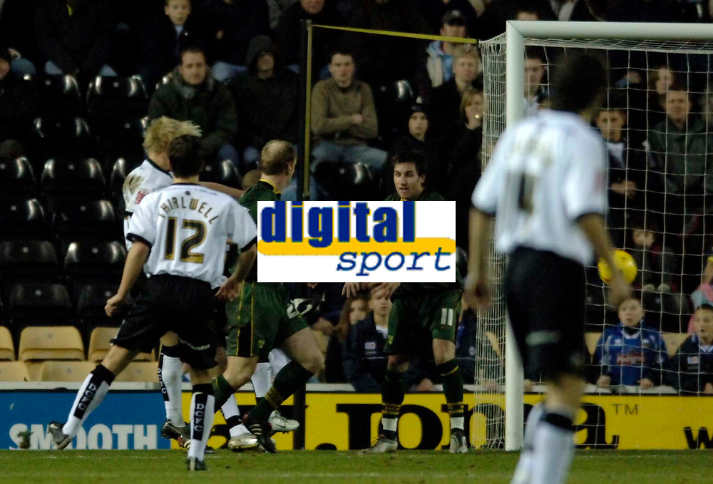 Photo: Glyn Thomas.<br />Derby County v Norwich City. Coca Cola Championship.<br />03/12/2005.<br />Derby's Andy Davies (L) scores his and his side's second goal to make the score 2-0.