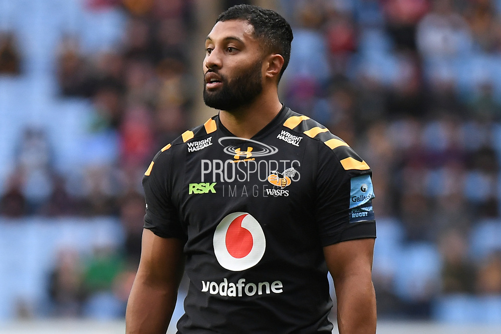 Wasps fly half Lima Sopoaga (10) during the Gallagher Premiership Rugby match between Wasps and London Irish at the Ricoh Arena, Coventry, England on 20 October 2019.