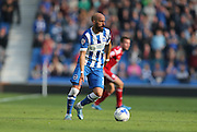 Brighton defender, Bruno Saltor looks to release during the Sky Bet Championship match between Brighton and Hove Albion and Cardiff City at the American Express Community Stadium, Brighton and Hove, England on 3 October 2015.