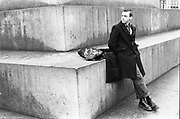 Symond leaning against concrete, High Wycombe, UK, 1980s