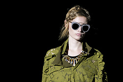 September 17, 2016 - Madrid, Madrid, Spain - A model  walks Turing Ana Locking Fashion Show at Madrid Fashion Week Spring/Summer 2017/18 at Ifema, on September 17, 2016, in Madrid, Spain  (Credit Image: © Oscar Gonzalez/NurPhoto via ZUMA Press)