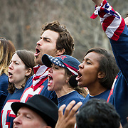 A small group of protesters rose to shout out the Preamble to the Constitution of the United States, as Donald Trump took the oath of office as the 45th President of the United States, January 20, 2017.  John Boal Photography