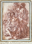 Christopher Columbus landing in America' 1494. Red crayon by Jean-Robert Ango (active 1759-1770) French painter and draughtsman. Four male figures, two kneeling and two standing.