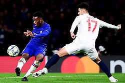 Callum Hudson-Odoi of Chelsea has a shot on goal whilst marked by Zeki Celik of Lille - Mandatory by-line: Ryan Hiscott/JMP - 10/12/2019 - FOOTBALL - Stamford Bridge - London, England - Chelsea v Lille - UEFA Champions League group stage
