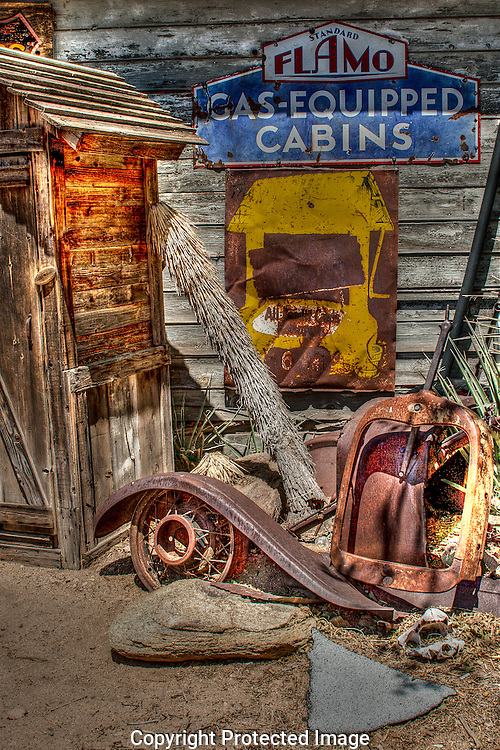 Memorabilia of Route 66 surround the Hackberry Store along Arizona's Rt 66